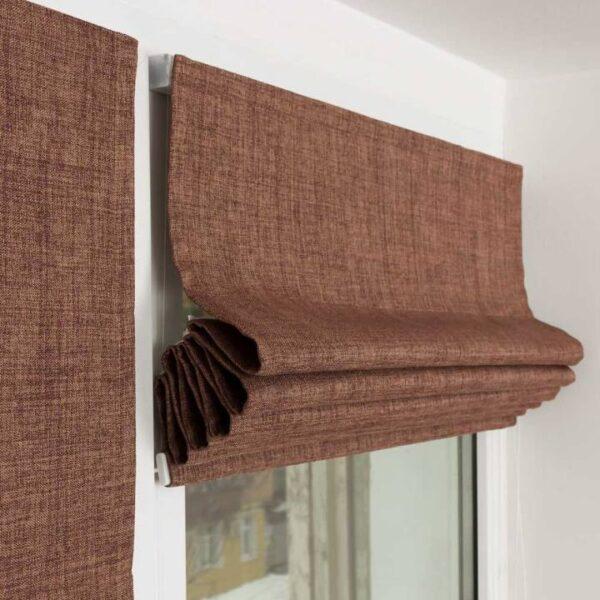 Римская штора из ткани Рогожка Сахара - ткань